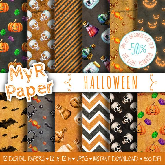 """Digital paper: """"HALLOWEEN"""" pack of backgrounds with #chevron, bats, skulls, potions, pumpkins in black and orange  Hello And Welcome To My Shop  These digital papers will be... #patterns #design #graphic #digitalpaper #scrapbooking"""