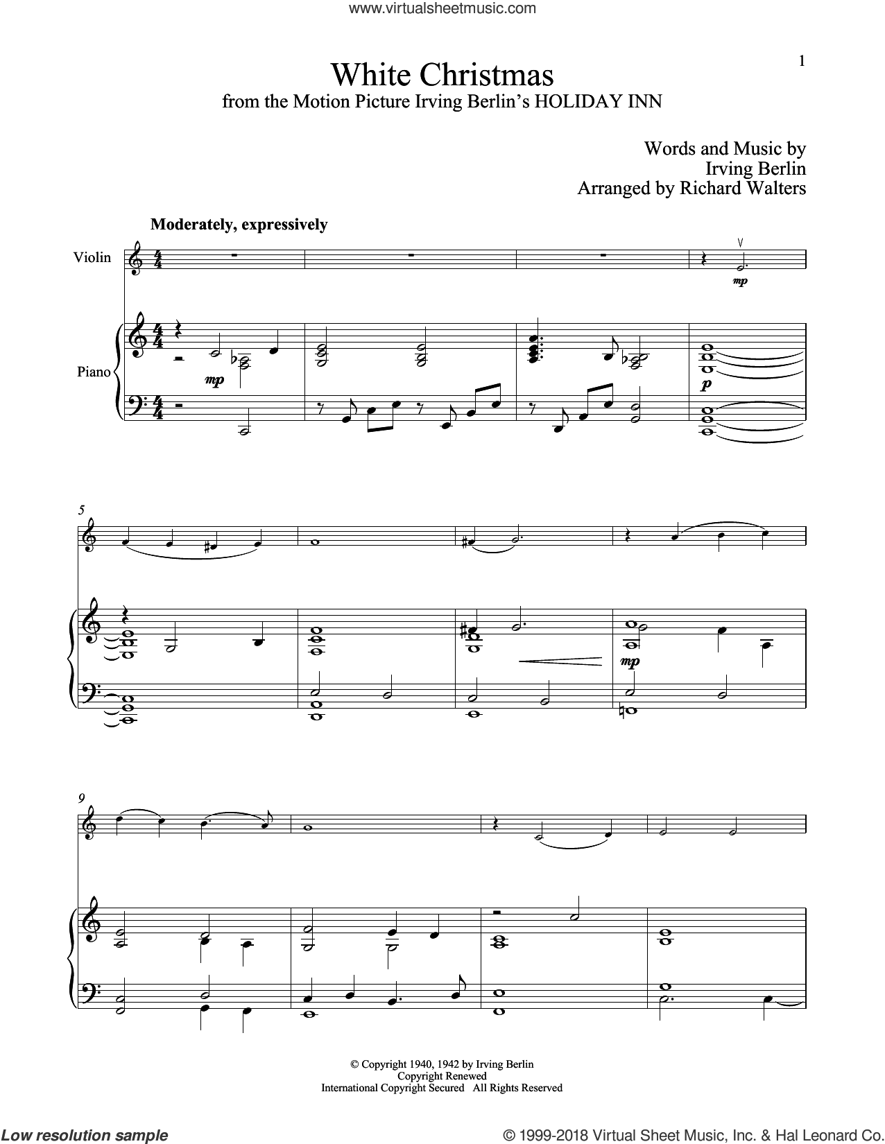 Berlin White Christmas sheet music for violin and piano