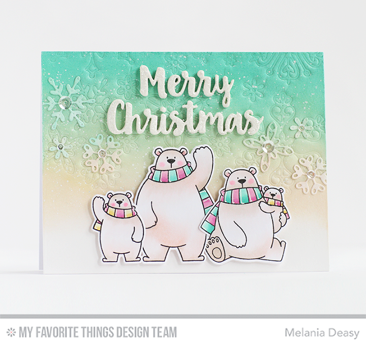 Polar Bear Pals Stamp Set and Die-namics, Stylish Snowflakes Die-namics, Merry Christmas Die-namics - Melania Deasy  #mftstamps