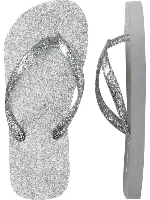 Glitter flip flops, Silver flip flops