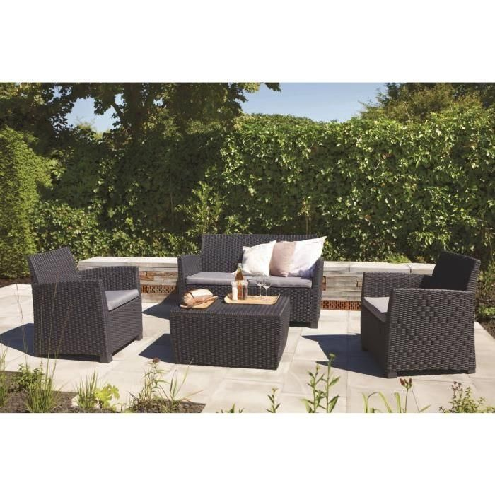 ALLIBERT Salon de jardin CORONA 4 places imitation | Jardin, balcon ...
