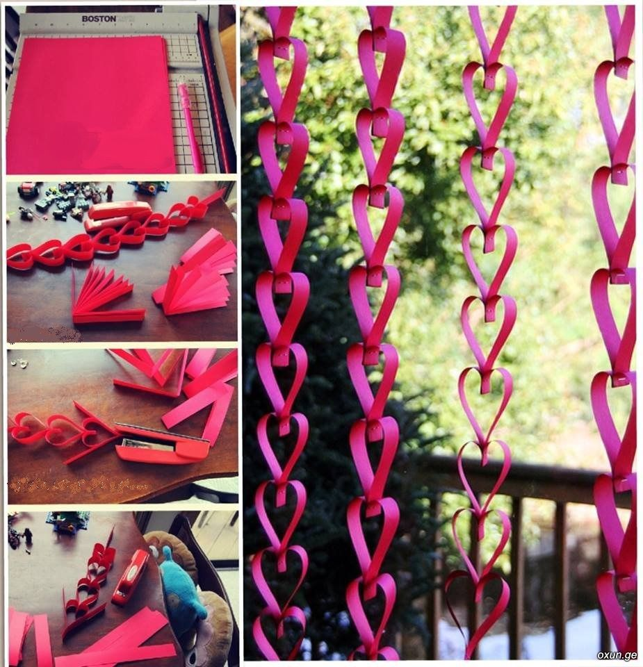 25 easy paper heart projects fiestas ideas para and for Decoracion de cortinas