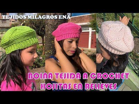 Boina Hojitas en Relieves Tejido a Gancho FÁCIL Y RÁPIDO - YouTube ... 8e97ad6a7cf