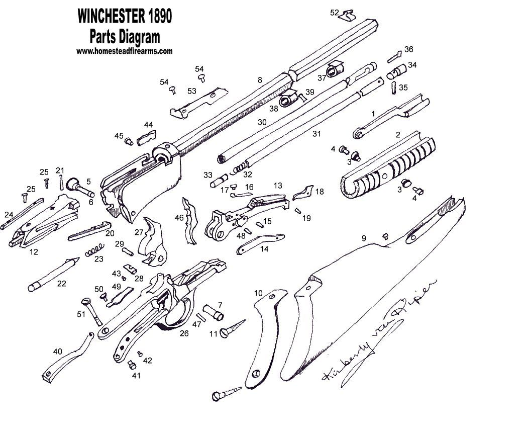 Winchester Model 1890 Schematic | Parts Diagram  Winchester 1890 Homestead Parts for antique