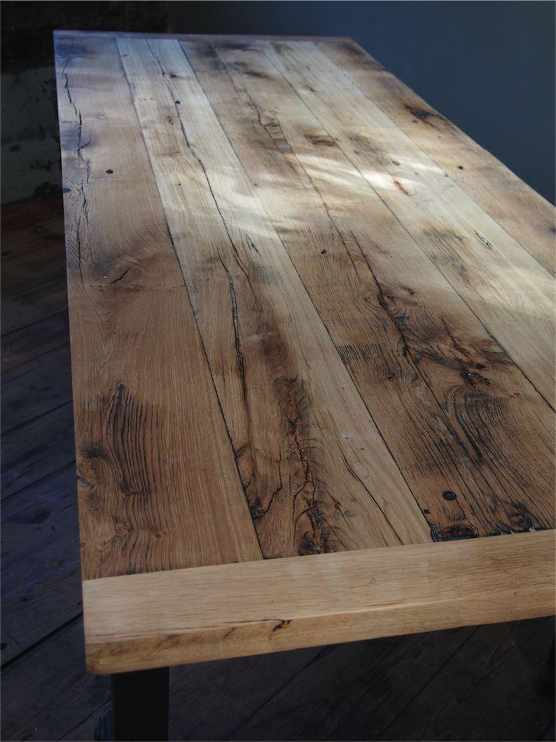 Grande table industrielle plateau chene massif pietement metal eiffel cuisine pinterest - Plateau de table de cuisine ...