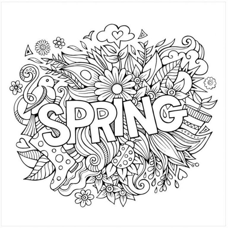 Spring By Eazl Premium Gallery Wrap Walmart Com Coloring Canvas Coloring Pages Spring Coloring Pages