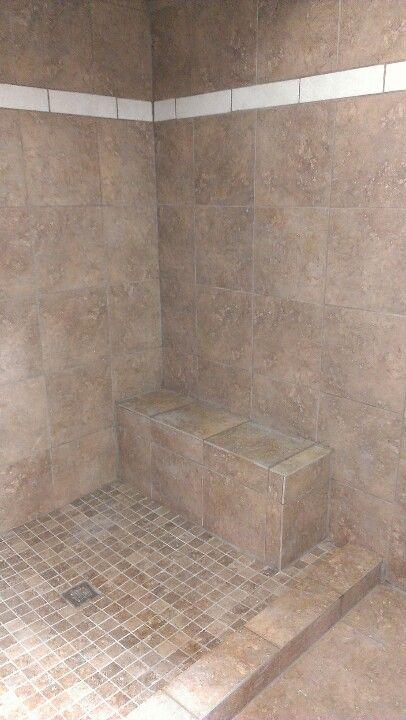 Converted sunken tub to walkin Shower.