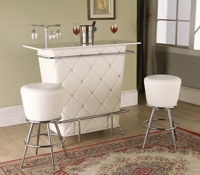 Tashara Collection White Tufted Vinyl Front Bar Table With Acrylic Crystal  Buttons And Chrome Accents And