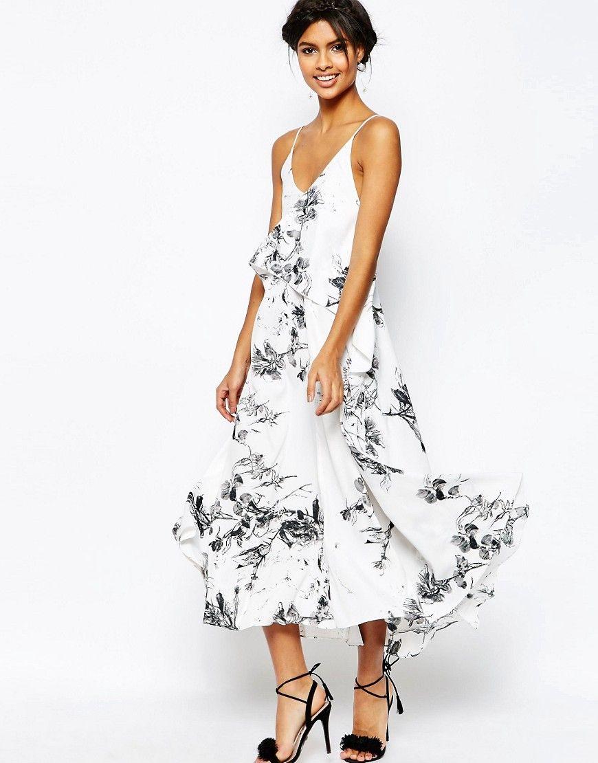 Asos wedding embellished floral drape back pencil midi dress - Image 1 Of Asos Mono Floral Cami Strap Midi Dress