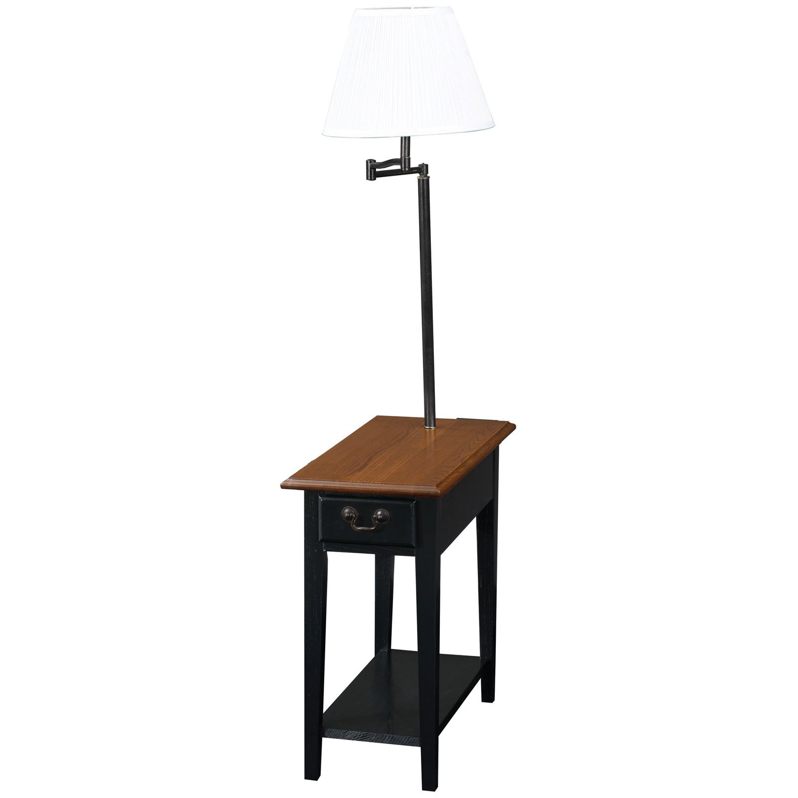 Leick Home Chairside End Table With Swing Arm Lamp In Black End Tables With Drawers Oak End Tables End Table With Lamp End table with lamp built in