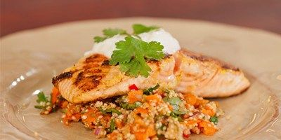 Zoes citrus marinated salmon with a quinoa salad recipe zoes citrus marinated salmon with a quinoa salad forumfinder Choice Image