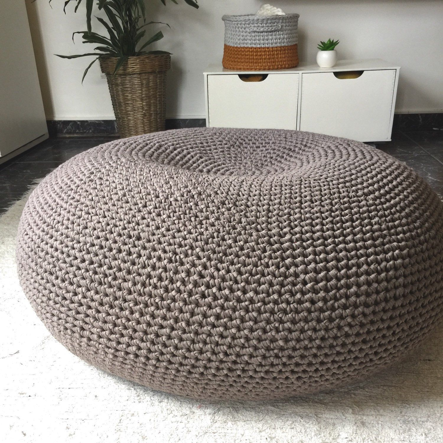 Giant Pouf Ottoman, Extra Large Floor Cushion, Bean Bag Chair, Large Round  Ottoman, Oversized Floor Seating Pillow, XXL Knit Pouffe
