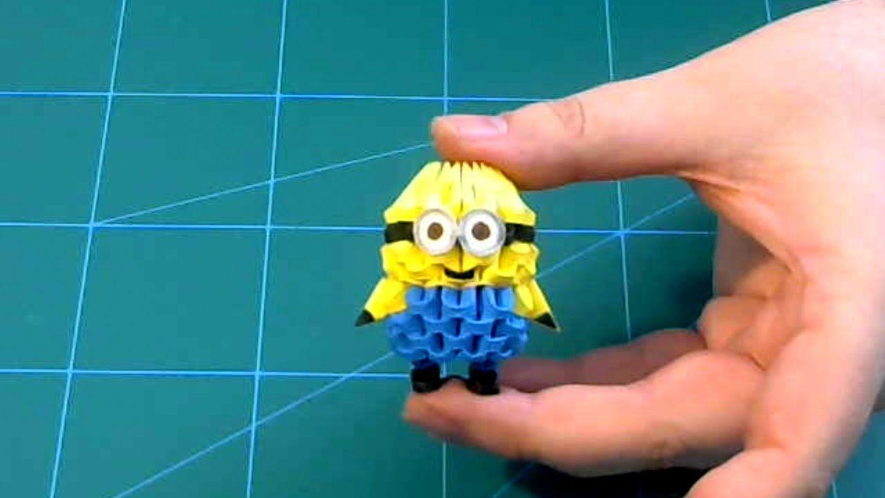 3D Origami small minion tutorial DIY paper small minion