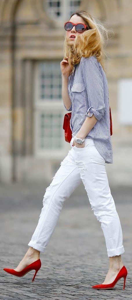 Ideas para combinar jeans blancos | pantalón blanco