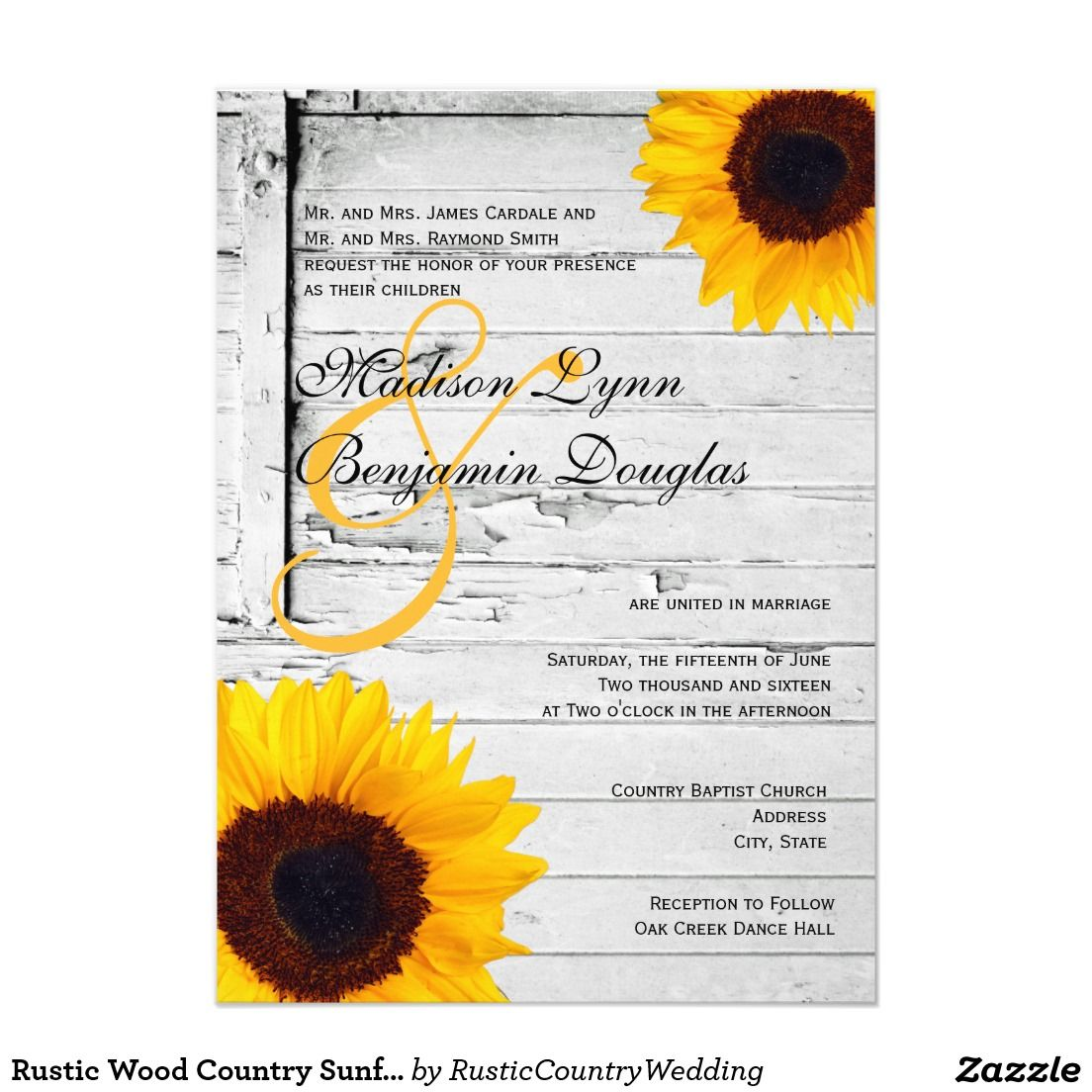 Rustic Wood Country Sunflower Wedding Invitations #wedding ...