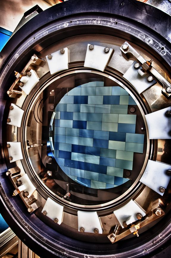 Dark Energy Camera CCD   Credit: Fermilab    The Dark Energy Camera features 62 charged-coupled devices (CCDs), which record a total of 570 megapixels per snapshot.