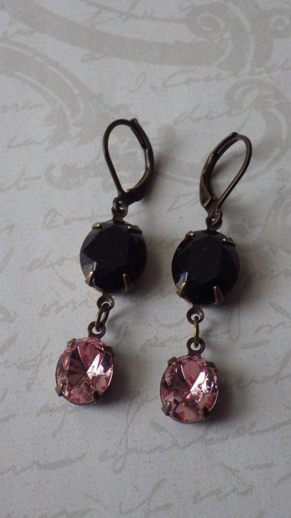 Vintage Paris Pink Black Rhinestone Dangle by froggardendesigns, $18.00