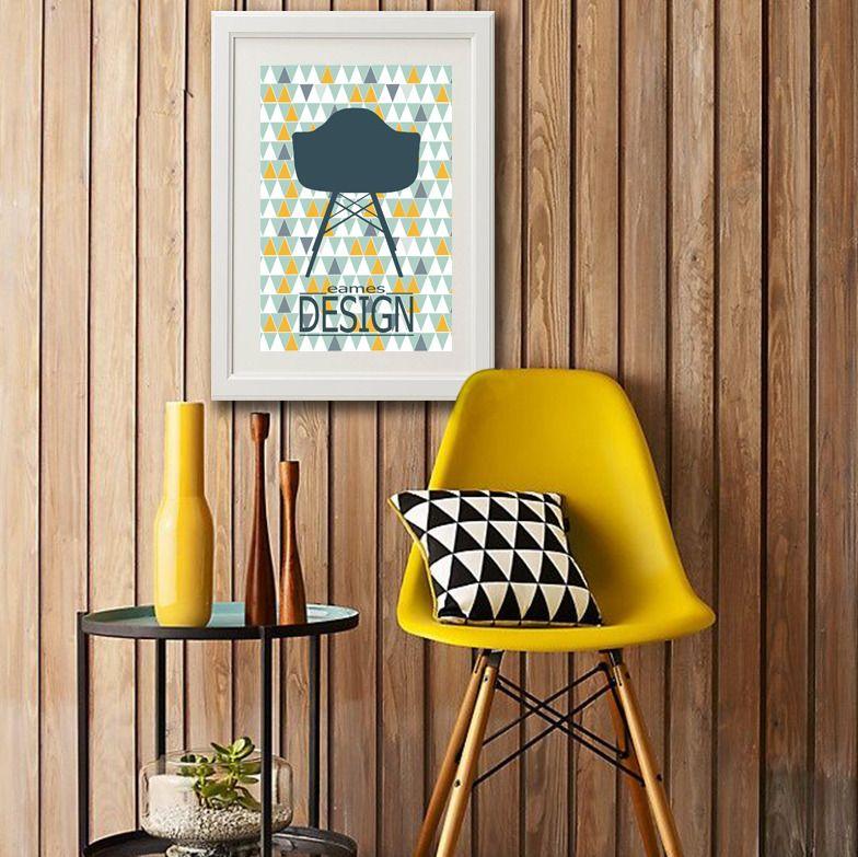 Affiche A3+ Eames Sur Fond Motif Scandinave : Décorations Murales