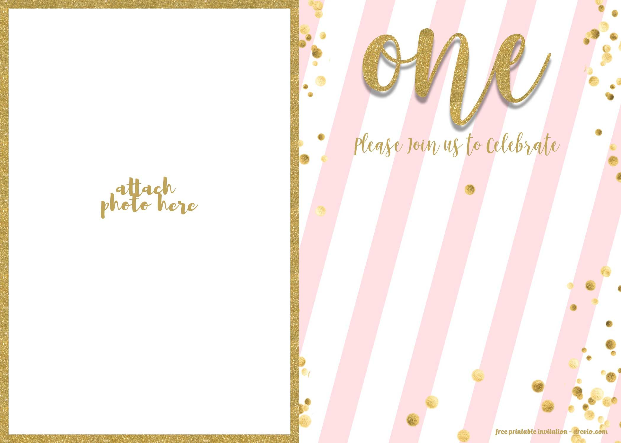 Nice FREE 1st Birthday Invitation Pink And Gold Glitter Template Free Printable Invitations Templates