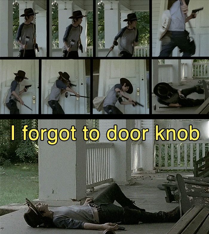 Carl Grimes Meme | forgot to door knob meme Carl Walking Dead After 4x09 Imgur