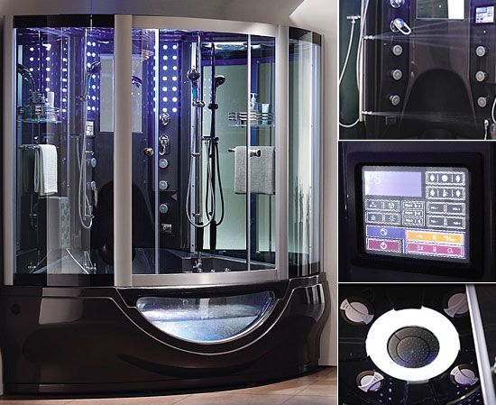 aquapeutics luxury steam shower with waterproof tv radio massage jets - Luxury Steam Showers