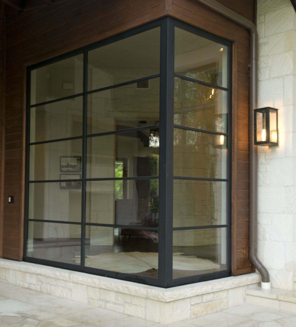 Decorations Minimalist Angle Corner Window With Iron Frame Ideas