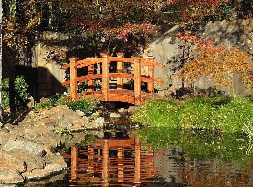 Bon Mesmerizing Water Garden With An Arched Bridge In Oriental Style [Design: Redwood  Garden Bridges]