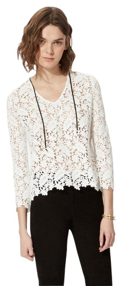 70d0fb97dc7d18 Pin for Later  Olivia Palermo Found the 1 Top You Need For Summer Vacation  Maje New Laponie Cotton Guipure Lace Top Maje New Laponie Cotton Guipure  Lace Top ...