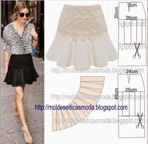 Moldes para hacer faldas con olanes para dama. | Patrones | Pinterest