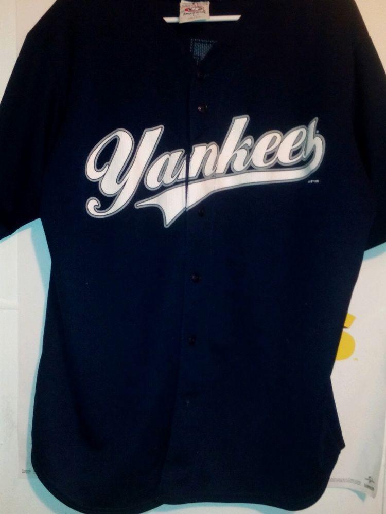 f692518ea MLB Genuine NEW YORK YANKEES #2 DEREK JETER Blue BASEBALL JERSEY Men's  Large #MLBGENUINEMERCHANDISE #NewYorkYankees