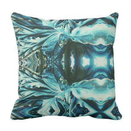 Cool Kaleidoscope Effect Green Plant Throw Pillow Diy Individual