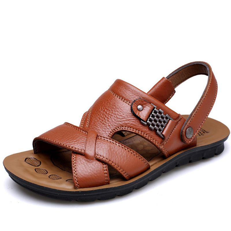 New Design 2016 Sandals Men Full Grain Leather Shoes Men Waterproof Beach  Shoes Flip Flops Summer Shoes Casual Sandals afc3d7435f3