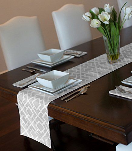 Grey White Contemporary Modern Diamond Pattern Table Runner 12 X 72 Mat Topper Sweet Jojo Designs Http Modern Trellis White Trellis Sweet Jojo Designs