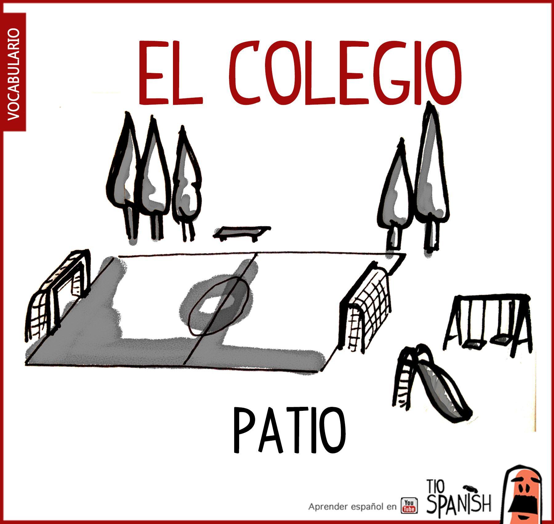 El Patio, Para Jugar En El Recreo O Descanso. Vocabulario Español En El  Colegio