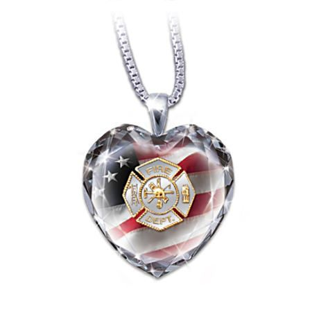Firefighter Crystal Heart Pendant Necklace Crystal Heart Pendant Heart Pendant Necklace Crystal Heart