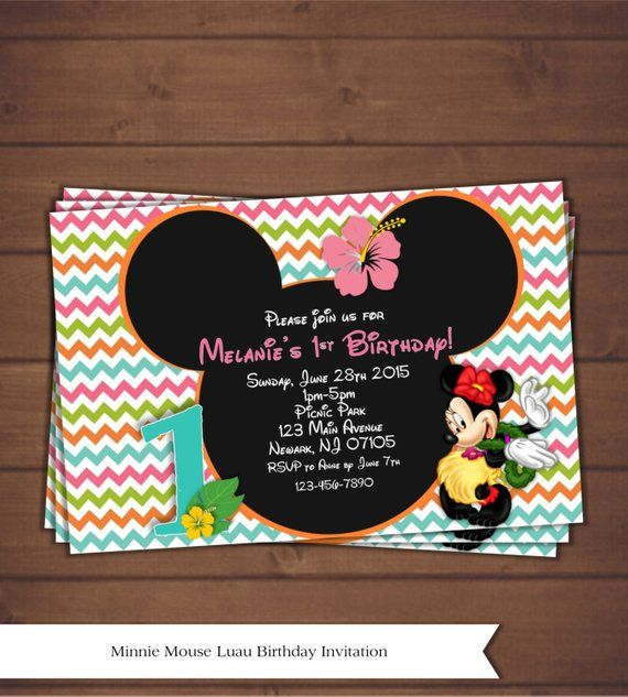 Minnie Mouse Luau Invitation Party Package