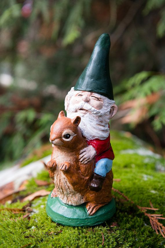 Mr Gnome With Squirrel Hand Painted Concrete By Onceuponagnome