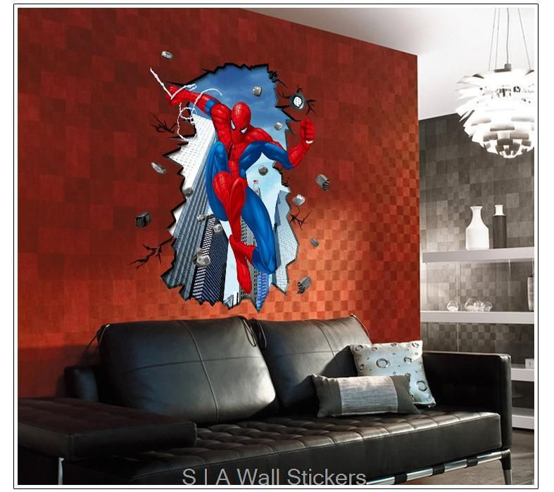 Find More Wall Stickers Information About [dreamhome] Giant Superman  Spiderman 3D Wall Sticker For Part 32