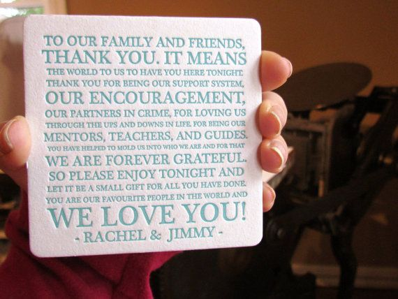 thank you messages on wedding favors | What could be better than heartfelt thank you coasters for wedding ...