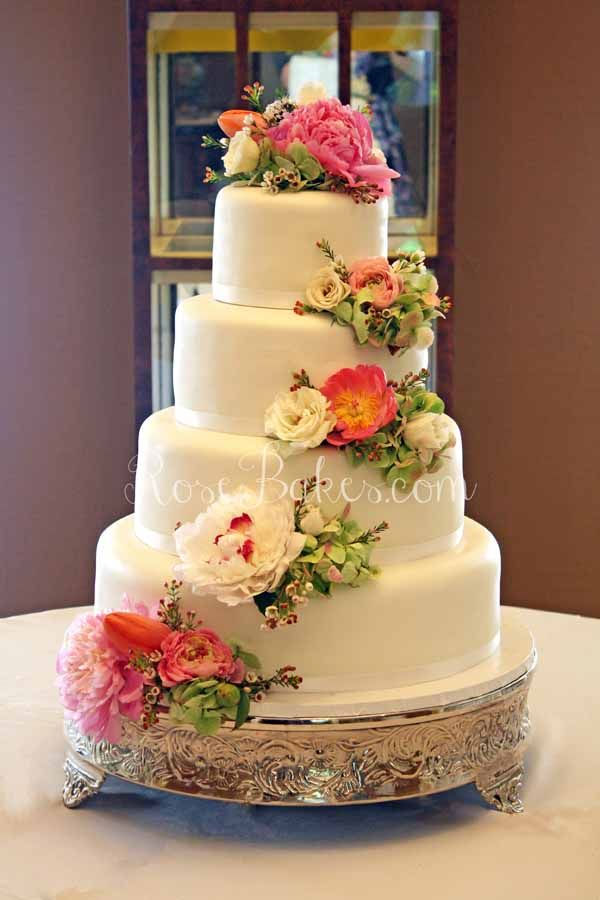 White Wedding Cake with Cascading Fresh Flowers in 2018 | Wedding ...