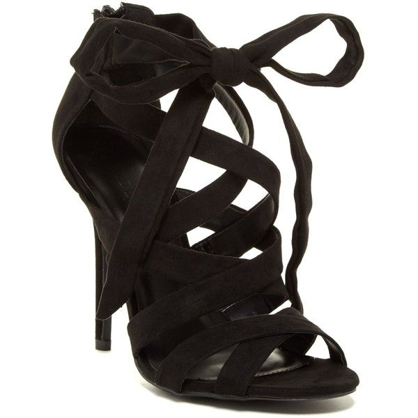 Legend Footwear Adele Strappy Wrap Sandal ($27) ❤ liked on Polyvore featuring shoes, sandals, black, ankle wrap sandals, wrap around sandals, high heel sandals, black high heel shoes and black sandals