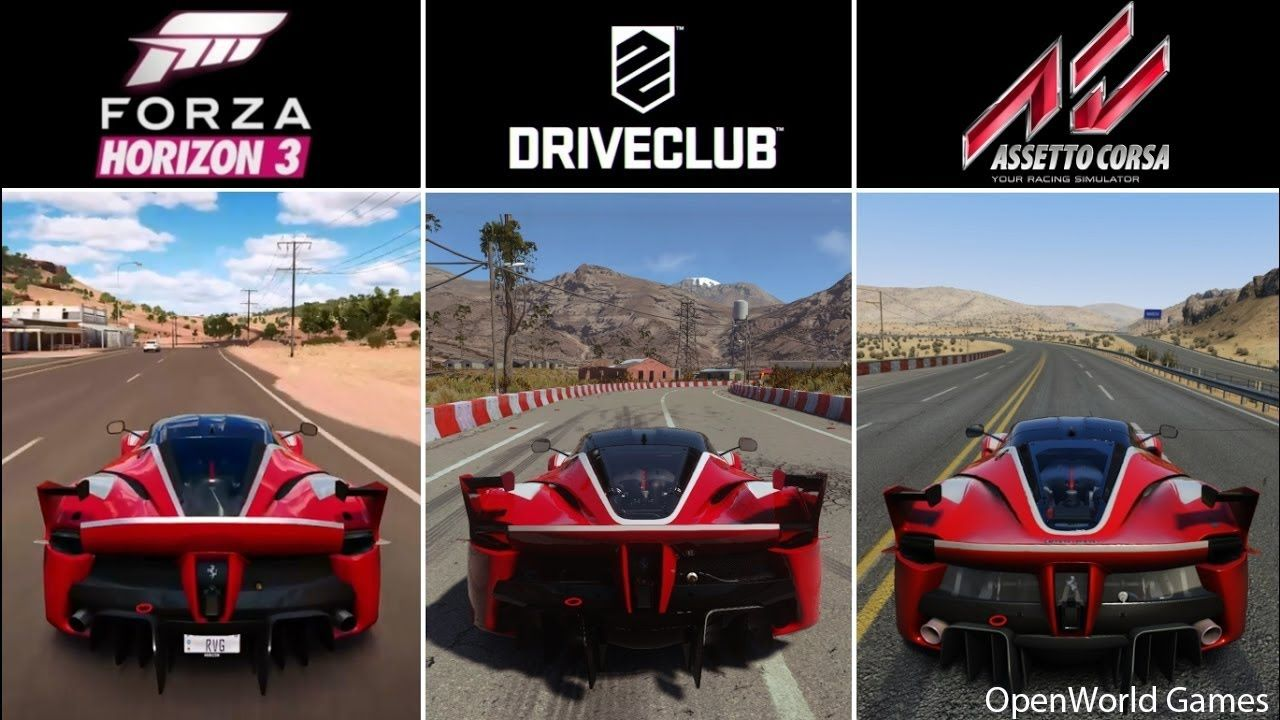 Forza Horizon 3 vs DriveClub vs Assetto Corsa