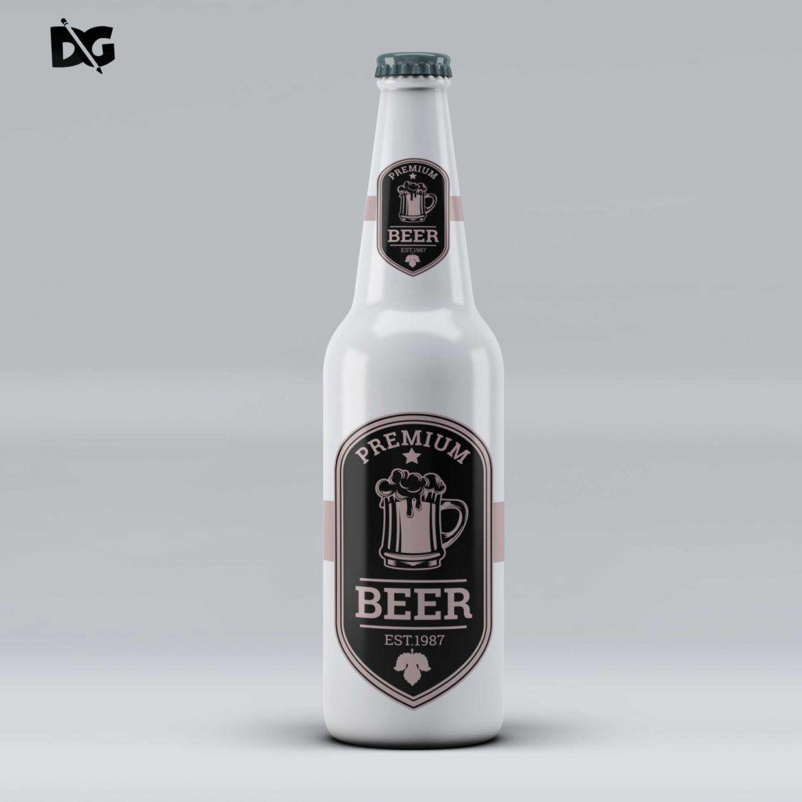 Beer Bottle Label Mockup  Beer and Glass Mockup Photoshop Beer Bottles  Photoshop Beer Label Set Beer Bottles Mockup