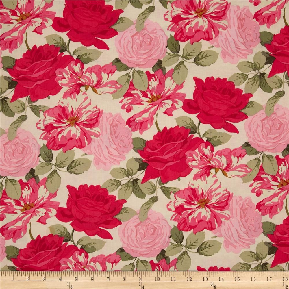 Rose Garden Stripped Rose Bright from fabricdotcom0A0ADesigned