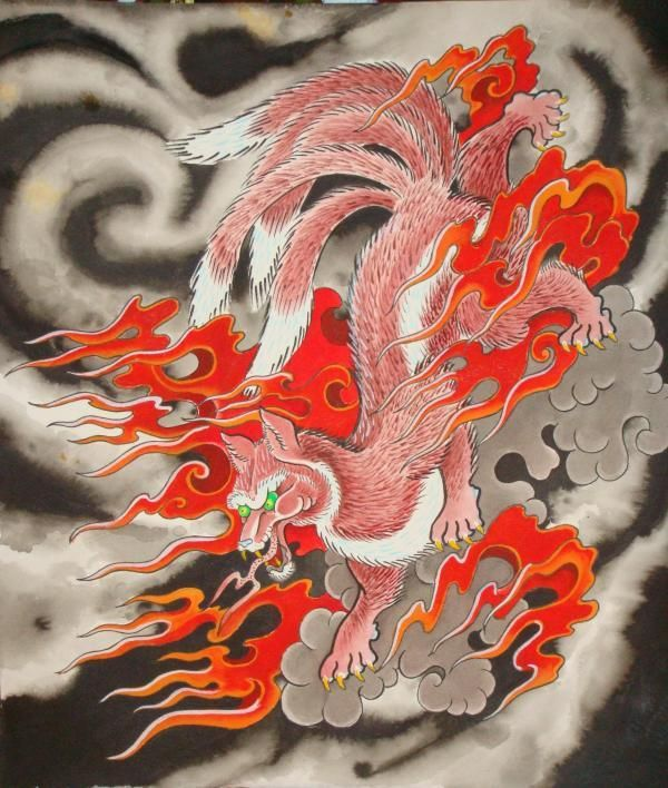 Traditional Kitsune Tattoo: Japanese Fox Spirit. Trickster, Shapeshifter
