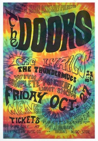 hippie vintage psychedelic the doors tie dye concert poster oldsoulrocknroll  sc 1 st  Pinterest & concert poster   The Doors   Pinterest   Concert posters Music ...