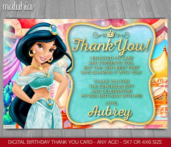 5x7 inches Aladdin Disney. Princess Jasmine personalised birthday card