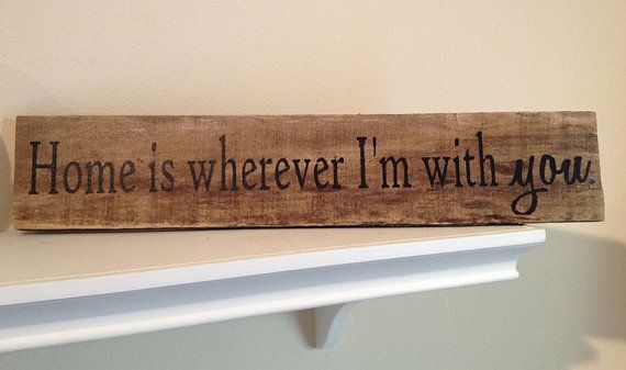 Home is Wherever i'm With You - Reclaimed Wood - Hand Painted Wood Sign -3.75x19