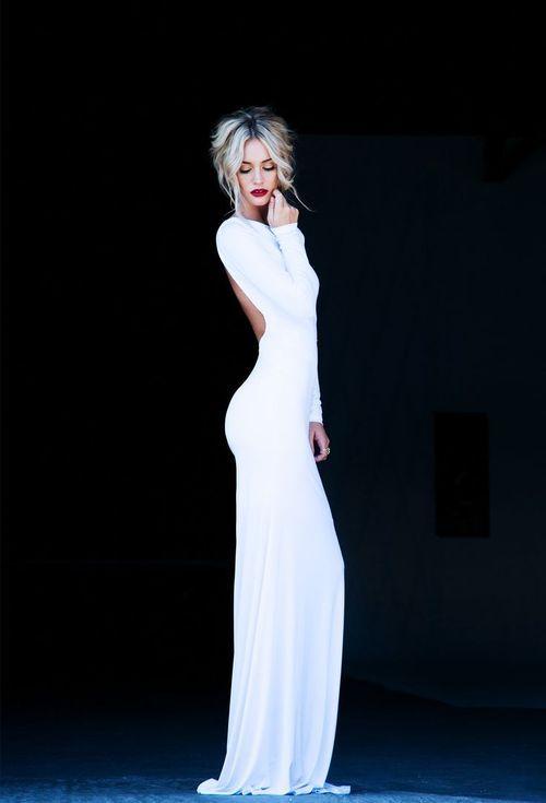 Online Shop Sexy White Mermaid Long Sleeve Backless Formal Evening Dresses Elegant Womens Open Back New Fashion 2013 USMC Ball Dress Idea