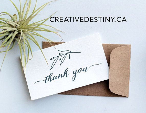 12 pack of miniature thank you card with kraft paper envelope